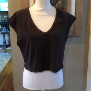 COPY - We The Free Brown Cropped V Neck Top